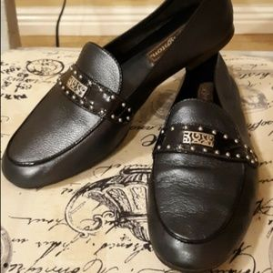 Brighton Cass Blue/Sliver Leather Loafers